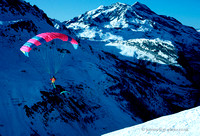 Ski paragliding from Solaise, Val d'Isere, France