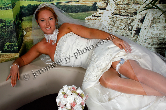Wedding photo with garter